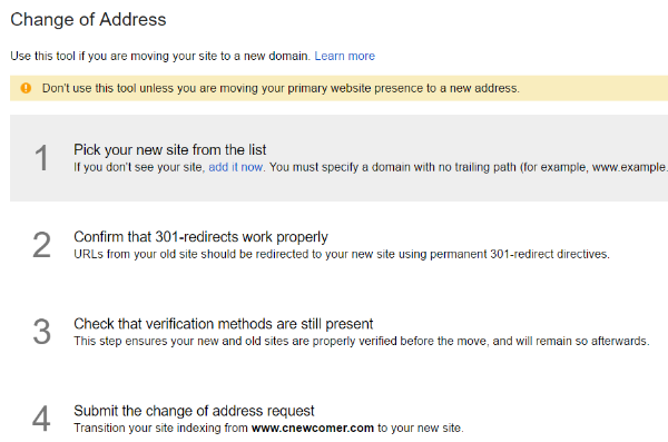 Search Console Change of Address Instructions