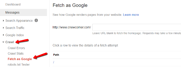 Use Fetch As Google In Search Console